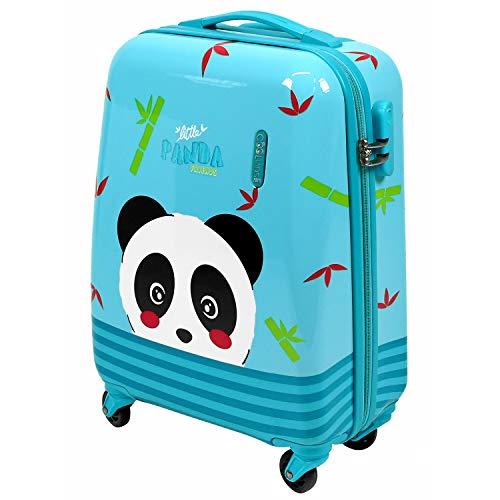 PERLETTI Maleta Trolley Niño Rigida Extra Resistente Panda Azul ABS - Equipaje de Mano Cabina Ligero con Cerradura TSA y 4 Ruedas Dobles Multidireccionales - Ryanair 49x34x21 cm (Panda, XS)