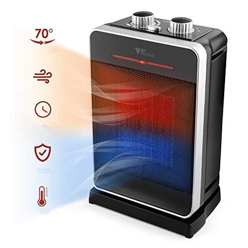 amzdeal Calefactor Cerámico Eléctrico Oscilación de 70°Calefactor PTC Vertical con 3 Potencias Regulables 2000W/1000W/20W y Termostato, Viento Calor/Natural Apagado Automatico Compacto y Silencioso