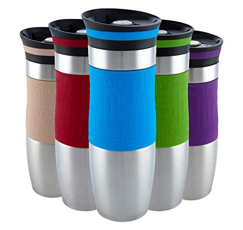 Insulated Vacuum Travel Mug, One-Handed Open and Drink, Very High Quality, Double Walled and Leakproof for Any Hot and Cold Drink (480 ml, 16 oz) (Blue)