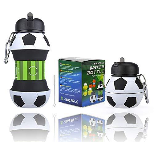 AToZ UK Fußball Faltbare Trinkflasche - Zusammenklappbare Wasserflasche für Jungen - Robust, BPA-frei, auslaufsicher, langlebig Geburtstag, Schulanfang - 550 ml