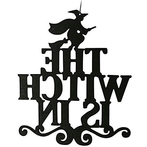 IZHH Die Hexe ist in der Halloween-hängenden Zeichen-Tür, die Halloween-Dekoration hängt (A)