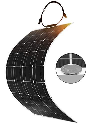 DOKIO Solar Panel 100W 12V Monocrystalline Flexible Lightweight Solar Panel Bendable for RV, Boat, Cabin, Tent, Car, Trailer Or Any Other Irregular Surface
