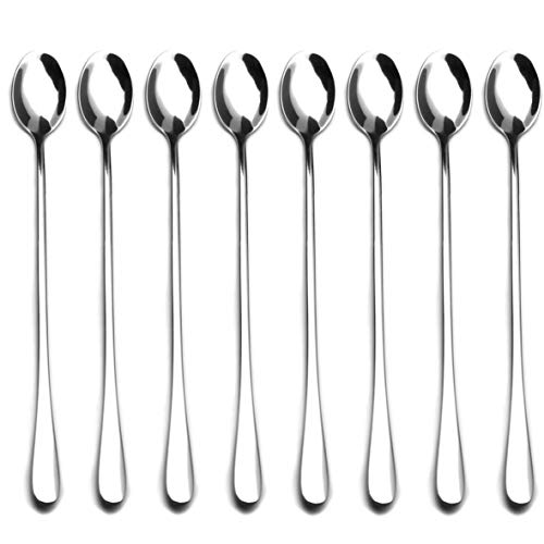 9-inch Long Handle Stirring Spoon, Ice Tea Coffee Spoon, Stainless Steel Cocktail Mixing Spoons - Set of 8