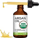 Argan Oil for Hair & Skin by Pure Acres Farm - Certified USDA Organic - 100% Pure Argan Oil, Natural, Cold Pressed,Unrefined, Hexane Free Hair Oil - Carrier Oil for essential oils (1oz)