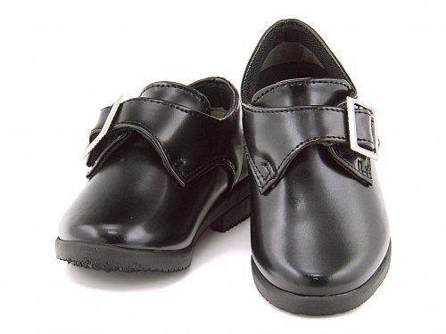 [フォーチュンスマイル] 男の子 キッズ フォーマルシューズ ローファー 子供靴 冠婚葬祭 発表会 七五三 入学式 サイズ調整 FO-60 ブラック 20.0cm
