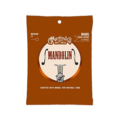 Martin Guitar Mandolin Strings M465, 80/20 Bronze, Medium-Gauge Mandolin Strings