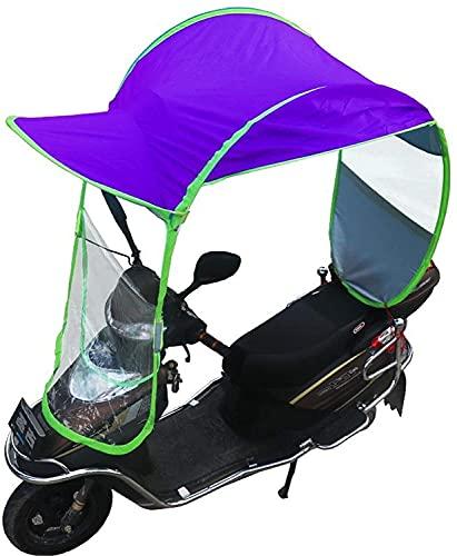 JZTOL Coche Eléctrico Motor Scooter Umbrella Mobility Sun Shade Cubierta De Lluvia Impermeable, Motocicleta Universal Toldos Toldos, Azul, Rosa, Púrpura (Color : Purple, Size : No Rear View Mirror)