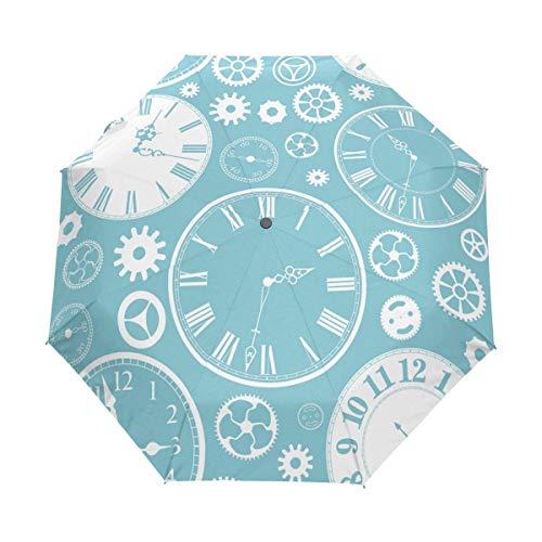Oude Klok Gear Onderdelen Op Blauw Auto Open Sluitbare Winddichte Reizen Paraplu