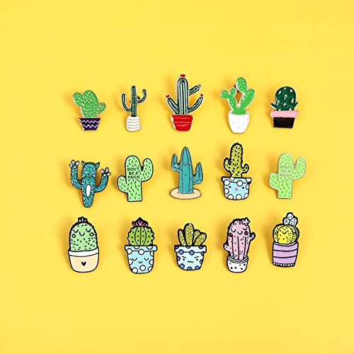 SHAOWU Small and cute accessory set Cartoon plant enamel Pin Colorful cactus chlorophytum potted Brooches Badges Denim lapel Jewelry Style13