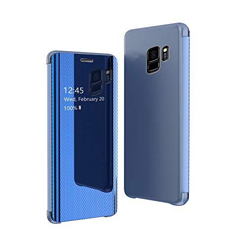 CrazyLemon Hülle für Samsung Galaxy S9 Plus, Dünn Leicht Flip Sichtbar Spiegel Schutzhülle PU Leder + Mikrofaser PC Hybrid Stoßfest Handyhülle - Blau