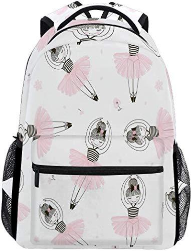 Netter Ballett-Ballerina-Schulrucksack-wasserdichter Schulter-Bookbag, rosafarbener Tänzer-Laptop-Beutel-beiläufiger Tagessatz-Spielraum-Sport im Freien bauscht Sich