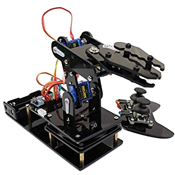 LK COKOINO 4 Axis Robotic Arm Kit for Arduino 4DOF Mini Desktop Robot Arm for Children/Adults Compliment Engineering Math Science and Technology Learning Strategy