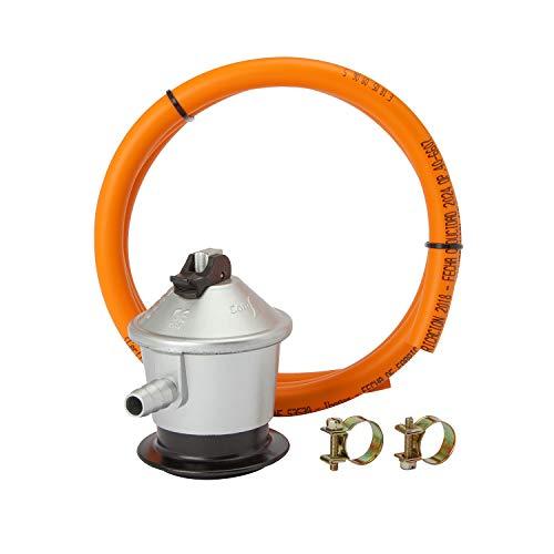 MIRTUX Kit de Conexión para Gas Butano o Propano: Regulador 30 mbar grs, Tubo Goma Naranja de 1,5 Metros y 2 Arandelas para Sujetar. Fácil instalaci
