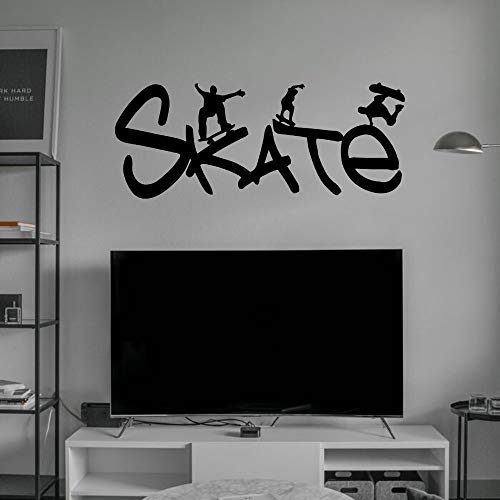 AGjDF Skateboard Vinyl Calligraphy Art Wall Art Decal Skateboard Sport Sticker Removable for Family Life decoration57x24cm