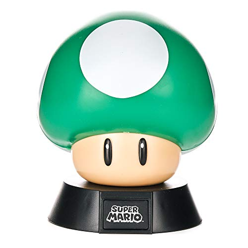 Paladone 1Up Mushroom Icon Light Oficial Coleccionable Nintendo | Ideal para dormitorios de niños, Oficina y hogar | Pop Culture Gaming Merchandise, 1 W, Verde