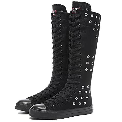 Momuk Girls Women Stylish Canvas Knee High Boots Causal Sneakers School Shoes Size 8 B(M) US Black