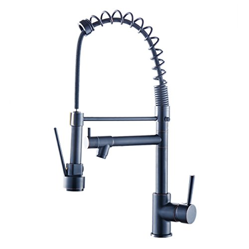 Beelee BL1751B 20' Modern Design Brass Pull Out Single Handle Single Hole Kitchen Faucet, Solid New Style Pull Down Kitchen Sink Faucet Oil Rubbed Bronze