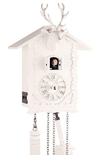 Eble Reloj de cuco de madera auténtica, mecanismo de cuarzo, funciona con pilas, cabeza de ciervo, 26 cm, 24380
