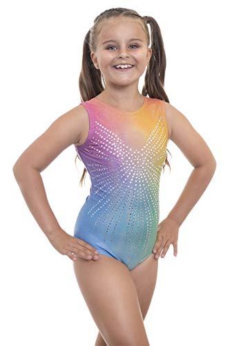 Velocity Dancewear Angel Deluxe Metallic Ombre Rhinestone Gymnastics Leotard for Girls (Angel Rainbow (Sleeveless), 11-12 Years)
