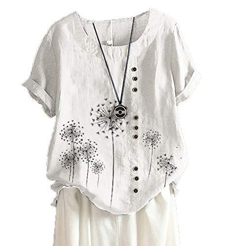Sommer Bedrucktes T-Shirt Aus Baumwolle Und Leinen, LäSsiges Kurzarm-T-Shirt FüR Damen