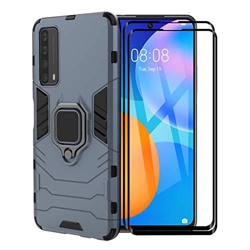 FINEONE® Funda para Huawei P Smart 2021, [Robusto] Anillo Metálico Soporte [Funciona con El Montaje De Coche Magnético] Case Carcasa, Azul + 2 Piezas Protector de Pantalla