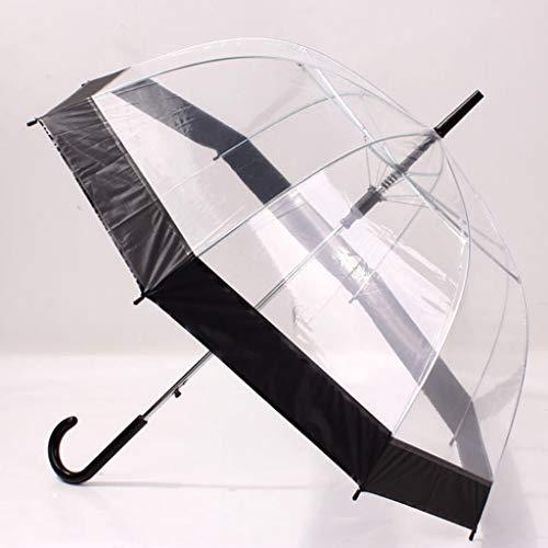 Dongmian Paraguas transparente con mango largo, con forma de cúpula, resistente al viento, lluvia y transparente, creativo para mujeres y niñas