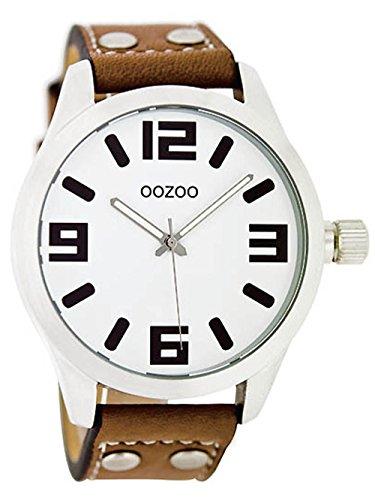 Oozoo Junioruhr Damenuhr mit Nieten Lederband Quarz Classic 40 MM Weiß/Cognac JR151