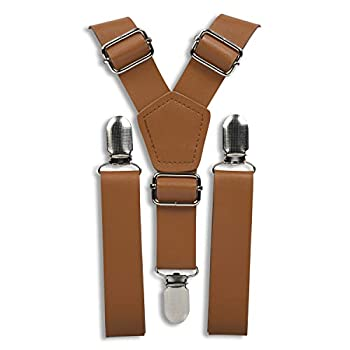 """Brown Leather Like Suspenders for Men - Wedding Outfits for Groomsmen  Caramel Silver Clips 35""""-67  fits up to 6'8 made to fit Big & Tall  by London Jae Apparel"""