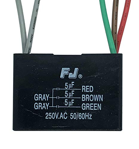 NEW TECH Ceiling Fan Capacitor 5 Wire 5+5+5uf