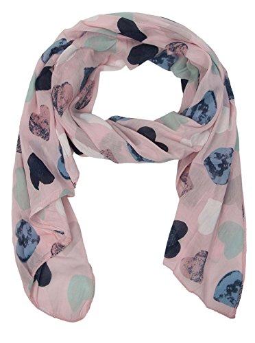Zwillingsherz Seiden-Tuch Damen Herz Muster - Made in Italy - Eleganter Sommer-Schal für Frauen - Hochwertiges Seidentuch/Seidenschal - Halstuch und Chiffon-Stola Dezent Stilvolles Muster rosa