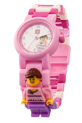 Armbanduhr Lego Classics - Pink, inklusive 12 zusätzlichen Armbandgliedern, Lego Minifigur im Armband integriert, analoges Ziffernblatt, kratzfestes Acrylglas