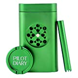 Pilot Diary Stash Holder Aluminum Magnetic Lid | Special Design with Mini Grinder, Malachite Green - US Stock