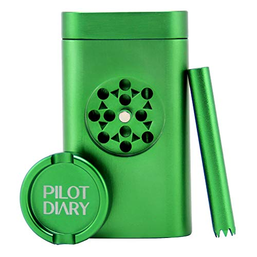 Pilot Diary Stash Holder Aluminum Magnetic Lid | Special Design with Mini Grinder, Malachite Green
