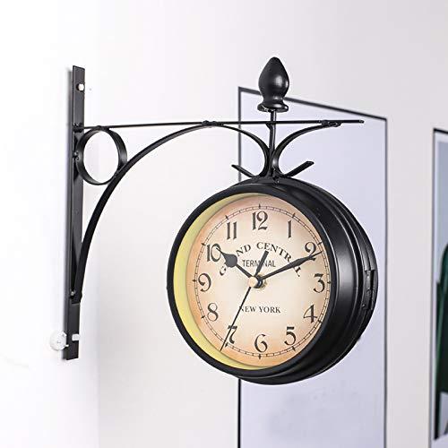 Reloj De Pared De Doble Cara, Reloj De Estación Paddington Con Cubierta Impermeable, Aspecto Antiguo Vintage Montado En La Pared Para Interiores Y Jardines, Decoración Colgante, Negro, 21,8 * 21,8 Cm