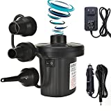 Electric Air Pump, Portable Quick-Fill Mattress Pump with 3 Nozzles - Inflator Deflator Bed Pumps with Car Home Charger for Camping Inflatables Raft Bed Boat Pool Rings Toy