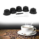 VIPIH 5 piezas reutilizable rellenable filtro de café cápsula taza para D-olce Gusto