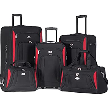 Merax Newest 5 Piece Luggage Set Softshell Deluxe Expandable Rolling Suitcase (Black w/Red)