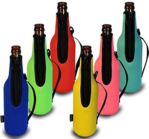 Bier Flaschenkühler 6 Stück für 500ml 0,5l Bierflaschen Reißverschluss extra dickes Neopren Isoliert NEU mit GRIFF, Bierkühler, Getränkekühler, Bierflaschenkühler, Bier Gadgets Geschenk
