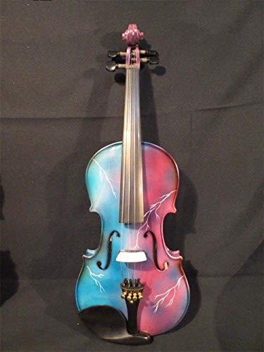 XTQDM Geige handgeschnitzte Bunte elektrische & amp;akustische Violine 4/4 Blitz gemalt, Pink