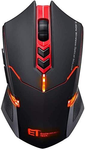 TOPELEK Laptop Maus, Gaming Maus Kabellos 2.4 G 2400 DPI, 7 Tasten und Mute-Maus, Wireless Maus - Funkmaus - Computer Maus - PC Maus, Mouse Rot