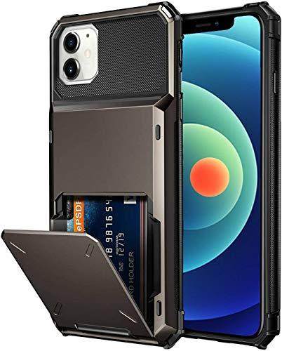 SAMEMO Card Holder Case for iPhone 12 Pro Max,Wallet Large-Capacity Pocket Rasied up Edges Corner Bumper Protective Anti-Slip TPU Hard Back Cover Compatible with iPhone 12 Pro Max 6.7 inch-Gun Metal