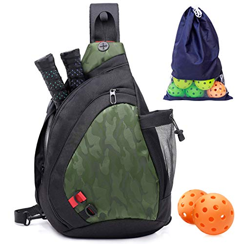 ZOEA Pickleball Bag, Sport Pickleball Sling Bag for Women Man, Adjustable Pickleball Bag with Water Bottle Holder, Fits 2 Paddles and All Your Other Gear (Green)