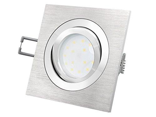 LED-Einbaustrahler Ultra flach (30mm) QF-2 eckig Alu gebürstet schwenkbar mit 5W LED Modul warmweiß 2700K 230V ohne Trafo | Oberfläche Aluminium fein gebürstet | glanzpolierter Innenring