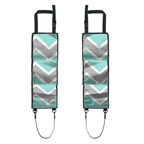 Poche arrière pour organisateur de voiture,Aqua Blue Grey Grey Chevron Print Pattern Girl,Accessoires de rangement pour organisateur de dossier de voiture