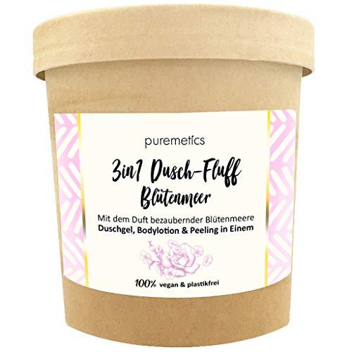 puremetics 3in1 Dusch-Fluff (250g) | Duschgel, Peeling und Lotion in Einem | 100% vegan & plastikfrei | pflegend, hautverfeinernd & glättend | ohne Mikroplastik | Zuckerpeeling (Blütenmeer)