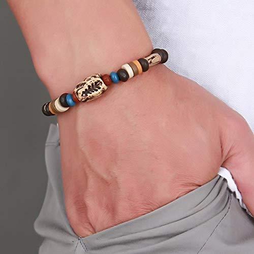 SNV rotierendes Fischgräten-Perlen-Armband Original Tribal Schmuck für Herren Surfer-Manschette Braslet Armreif