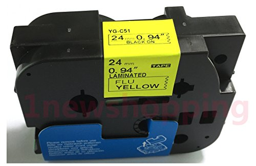 NEOUZA Compatible for Brother P-touch TZe Tz Black on Fluorescent Yellow label tape 6mm 9mm 12mm 18mm 24mm 36mm all size(TZe-C51 24mm)