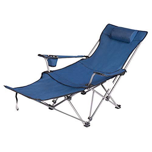 Camping Chair with Foot Rest - Heavy Duty Portable Lawn Folding Chairs for Adults Support 300 LBS - Outdoor Beach Chair with Cup Holder Pillow and Carry Bag