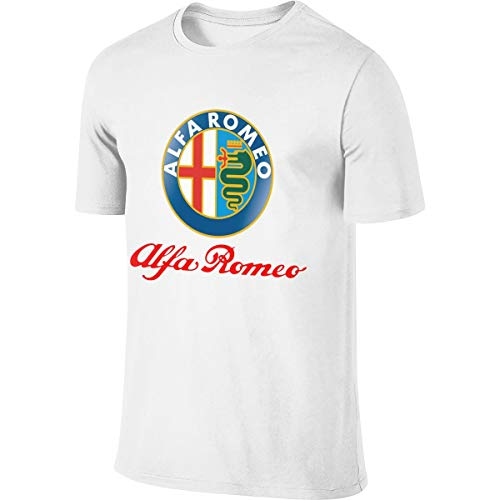 KAMEOR Men's Personalized Fashion Top Alfa Romeo Logo T-Shirt White