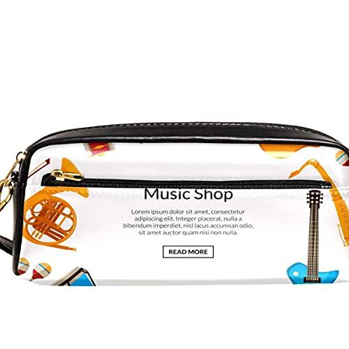 Estuche para lápices Estuche para marcadores de bolígrafos Guitarra de la tienda de música Organizador de papelería de cuero con cremallera